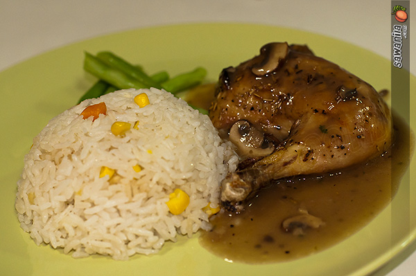 Buttered Rice and Roasted Chicken